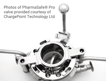 Graphic Photos of Pharmasafe Pro valve provided courtesy of ChargePoint Technology Ltd